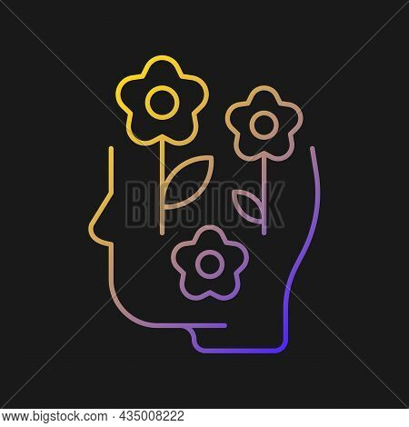 Positive Mindset Vector Icon For Dark Theme. Optimistic Attitude. Lifestyle And Approach. Skill That