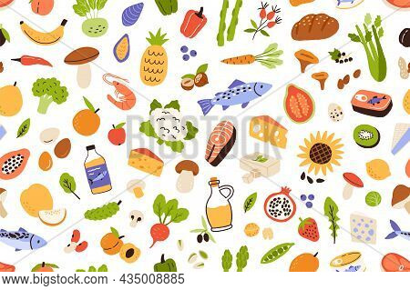 Healthy Vitamin Food Pattern. Seamless Background With Organic Fresh Vegetables, Fruits And Fish. En