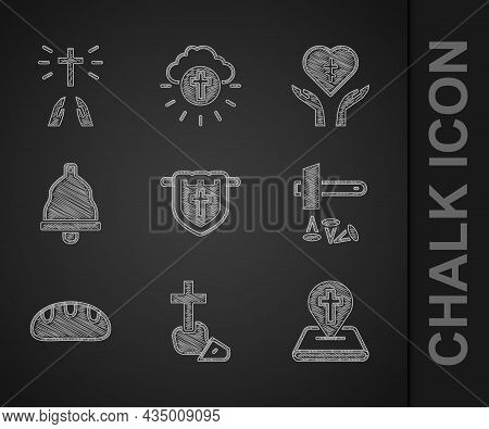 Set Flag With Christian Cross, Christian, Location Church Building, Crucifixion Of Jesus, Bread Loaf