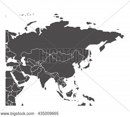 Simplified Schematic Map Of Asia. Blank Isolated Continent Political Map Of Countries. Generalized A