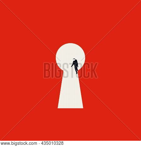 Business And Technology Solution Vector Concept. Symbol Of Success, Astronaut In Keyhole. Minimal Il
