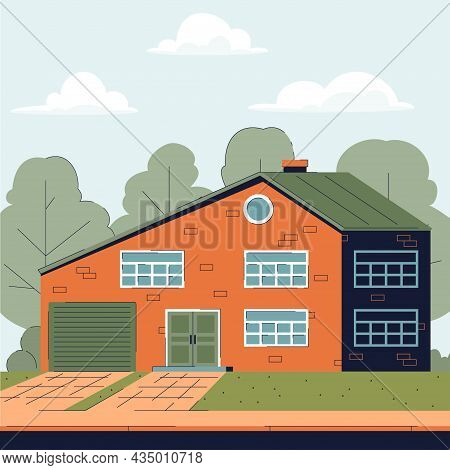 Big Brick Country House With Garage And Attic