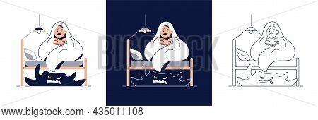 Kids Nightmares, Fear Of Darkness Vector Illustration Set. Scared Boy Hides Under Blanket From Monst