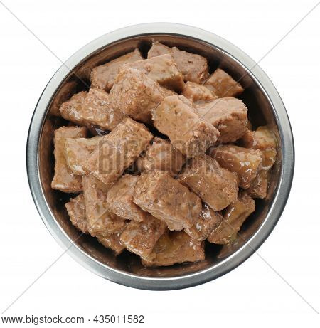 Wet Pet Food In Feeding Bowl Isolated On White, Top View