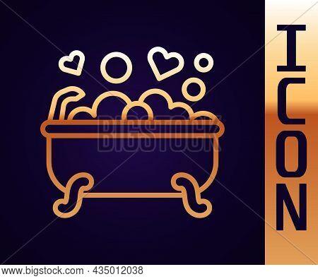 Gold Line Romantic In Bathroom Icon Isolated On Black Background. Concept Romantic Date. Romantic Ba