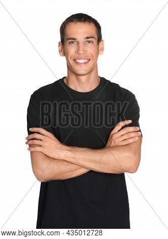 Portrait Of Personal Trainer On White Background. Gym Instructor