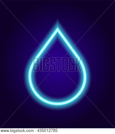 Neon Water Drop. The Glow-in-the-dark Liquid Sign Is A Neon Outline Of Blue On A Dark Background. Ve