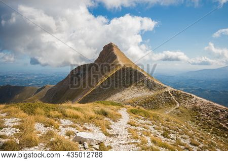 View Of The Peak Of Monte Sibilla: The Magical Mountain Of Legends In The National Park Of Monti Sib