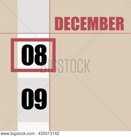 December 8. 8th Day Of Month, Calendar Date.beige Background With White Stripe And Red Square, With