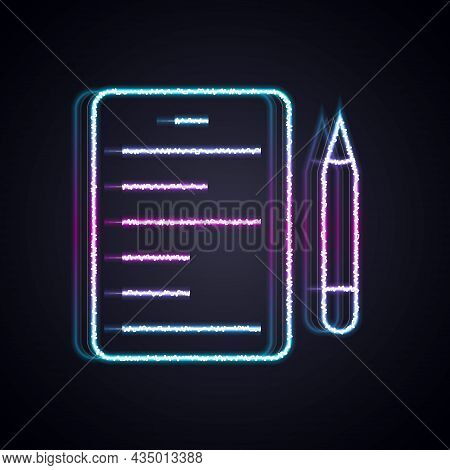 Glowing Neon Line Scenario Icon Isolated On Black Background. Script Reading Concept For Art Project