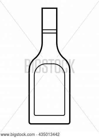 Alcoholic Linear Bottle Illustration. Alcohol Cocktail Drink Icon. Bar Menu Flat Vector Logo. Outlin