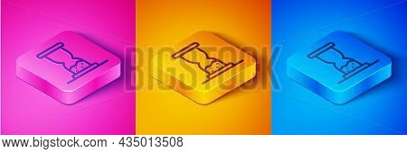 Isometric Line Old Hourglass With Flowing Sand Icon Isolated On Pink And Orange, Blue Background. Sa