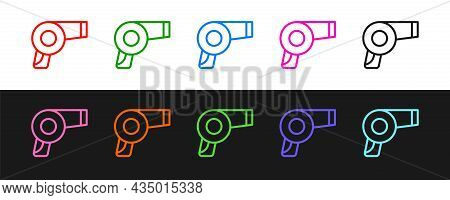Set Line Hair Dryer Icon Isolated On Black And White Background. Hairdryer Sign. Hair Drying Symbol.