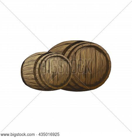 Two Old Wooden Barrels For Wine, Rum Or Beer Storage At Winery Or Brewery.