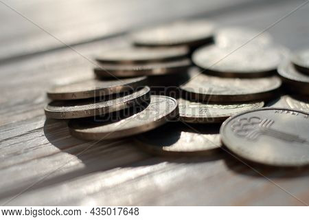 Set Of Soviet Anniversary Rubles Of Different Years Of Release Closeup. Shallow Depth Of Field