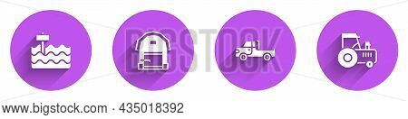 Set Garden Bed, Farm House, Pickup Truck And Tractor Icon With Long Shadow. Vector