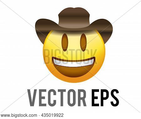 Vector Gradient Yellow Smiling Face Icon With Brown Leather Cowboy Hat And White Teeth
