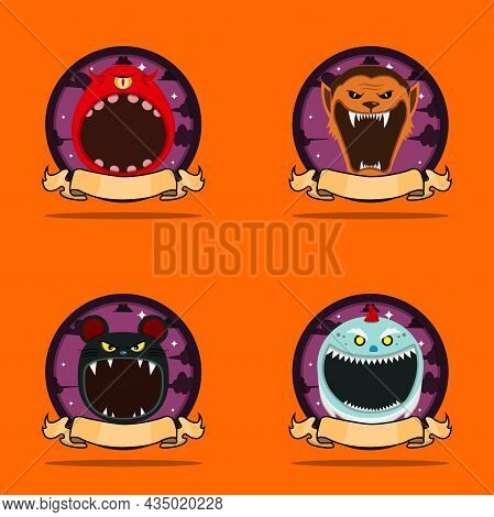 Emblem Set Head Monster. With One Eye Monster, Wolf Man, Mouse And Creepy Gnome Head Character Desig