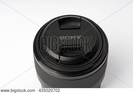 Moscow, Russia-october 2, 2021: Sony 50mm 1.8 Full Frame Lens On A White Background. Space For Text