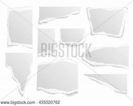 Paper Torn. Shapes Of Papers Scraps Different Forms And Sizes, Textured Memo Sheets. Grainy Crumpled