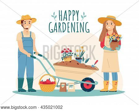 Gardeners With Tools. Family Couple Garden Workers, Happy Man And Woman, Wheelbarrow With Earth And