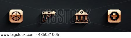 Set Peace, Pistol Or Gun, Courthouse Building And Hospital Signboard Icon With Long Shadow. Vector