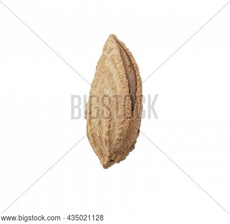 Almond In The Shell On A White Background. The Nut Is Visible In A Crack In The Shell