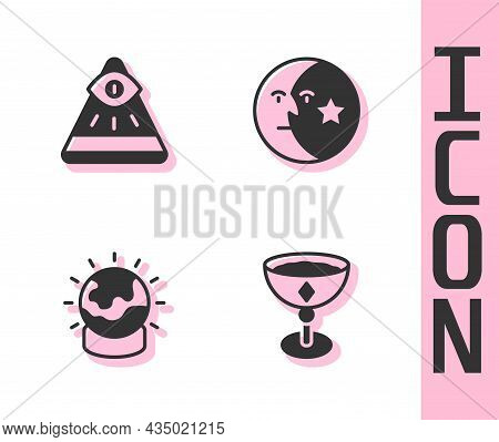 Set Medieval Goblet, Masons, Magic Ball And Moon And Stars Icon. Vector