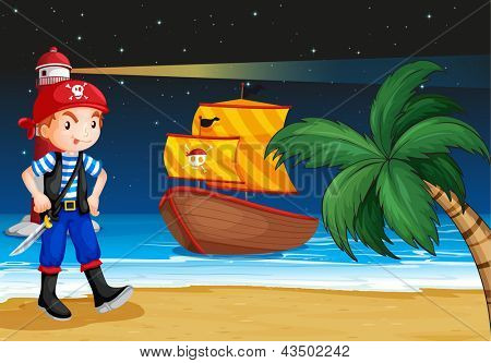 Illustration of a pirate near the seashore with a pirate boat poster