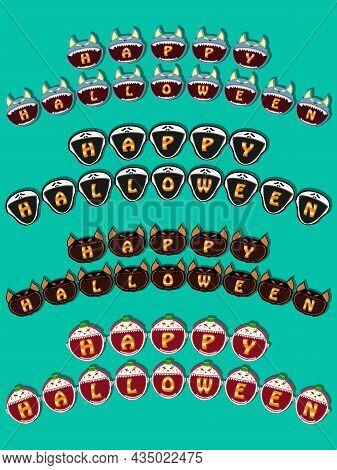 Happy Halloween Text Banner On Head Monsters. Wolf, Scream, Creepy Bat And Creepy Clown Head Design.