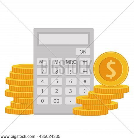 Accounting, Banking Or Tax Calculations Concept. Calculator And Coins, Isolated Object. Cost Calcula