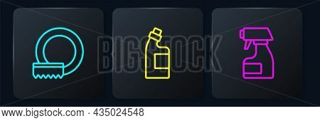 Set Line Washing Dishes, Cleaning Spray Bottle And Bottle For Cleaning Agent. Black Square Button. V