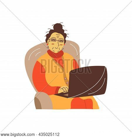 Happy Grandma Sits In A Chair Wearing Glasses With A Laptop. Colorful Vector Flat Isolated Illustrat