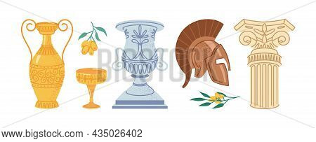 Antique Greek Objects Isolated Flat Cartoon Icons Set. Retro Marble Column, Helmet And Classic Ampho