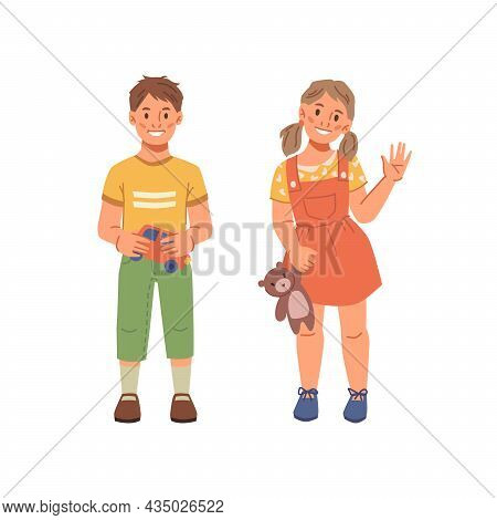 Preschool Children Boy And Girl Isolated Flat Cartoon Characters. Happy Smiling Caucasian Kids, Kind