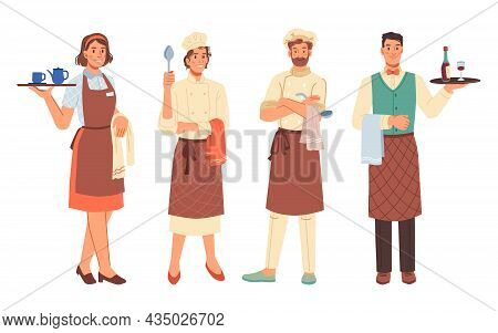Workers Professions, Women And Men, Cooks And Waiters Isolated Flat Cartoon Characters. Chef Cook, C