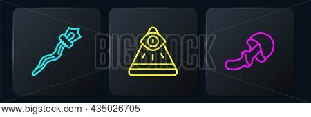 Set Line Magic Staff, Psilocybin Mushroom And Masons. Black Square Button. Vector