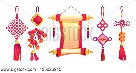 Chinese New Year Hanging Decor With Tassels, Scroll, Firecracker Isolated Cartoon Icons Set. Decorat