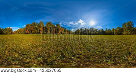 360 By 180 Degree Spherical Panorama Of Sunny Autumnal Mowed Meadow And Yellow Forest On Its Edges W