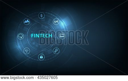 Fintech Financial Technology Concept.icon Fintech And Things On Dark Blue Technology Background Repr