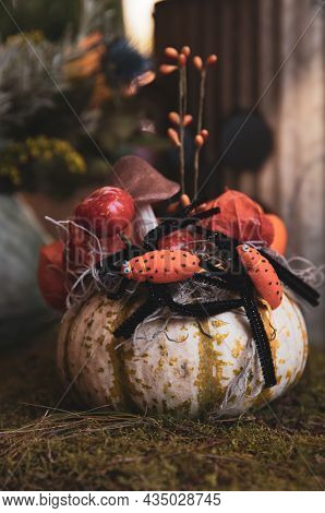 Decorated Halloween Pumpkin On The Table In The Greek Garden Shop. October, 2021.