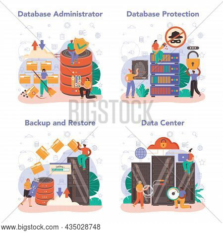 Data Base Administrator Concept Set. Manager Working At Data Center