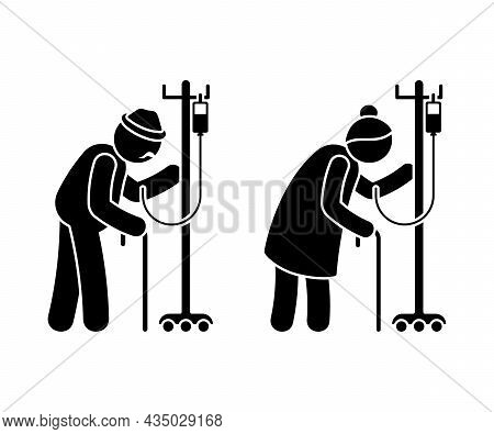 Grandparent Stick Figure Old Man And Woman Vector Illustration Set. Grandfather And Grandmother Coup