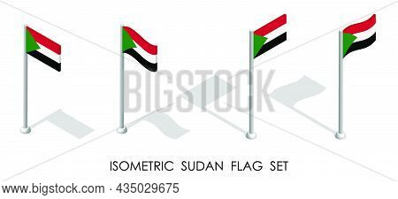 Isometric Flag Of Republic Of Sudan In Static Position And In Motion On Flagpole. 3d Vector