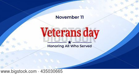 Veterans Day. Vector Web Banner, Background, Poster, Card For Social Media, Networks. Text November