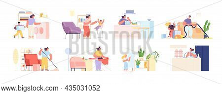 Family Clean Home. Parents Cleaned Flat, Cleaning Bathroom Together. Isolated Teenage And Adults Doi