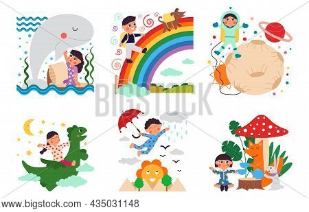Kids Fantasy World. Children Imagination, Childhood Dream Adventures. Imagine Magic, Kid On Playgrou
