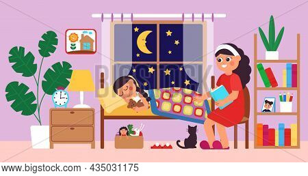Children Bedtime. Mother Putting Daughter Bed, Mom Reading Story To Child. Night Tales, Girl Sleep A