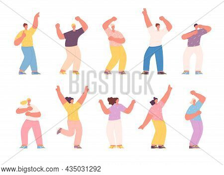 Isolated Dancing People. Group Friends, Happy Excited Girl In Dance. Smiles Young Teens Celebration,