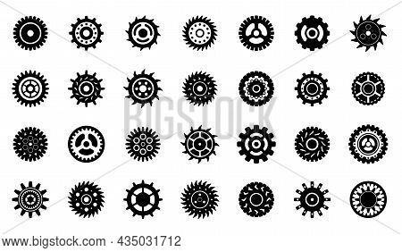 Mechanical Gears Elements. Cogs Gear Wheel, Isolated Mechanical Icons. Engineering Symbol, Clock Or